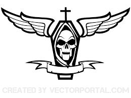 skull ribbon vector coffin with cross skull wings and ribbon 123freevectors