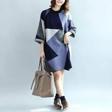 2017 geometric patchwork cotton knit dresses plus size casual