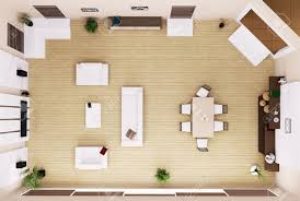 top view of modern living room interior 3d render stock photo