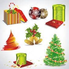 vector set with christmas symbols and objects u2014 stock vector
