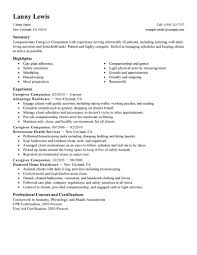 Resume Samples Pic by Best Caregivers Companions Resume Example Livecareer
