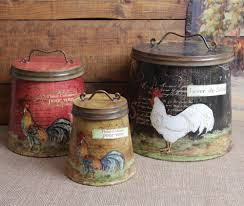 Tuscan Style Kitchen Canisters Rooster Home Decor Shabby Country Chic Rooster Tin Canister Set