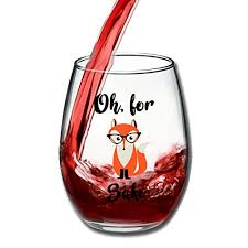 wine themed gifts oh for fox sake 15 oz stemless wine glass unique fox