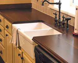 decorating countertop with apron front sink and graff
