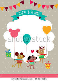 cute puppy happy birthday greeting card stock vector 544660807