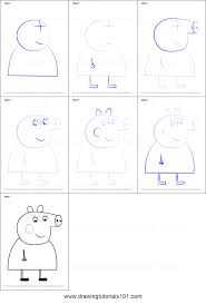 how to draw aunty pig from peppa pig printable step by step