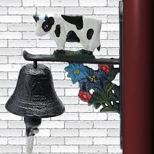 vintage animal garden bell rusted cast iron hanging wall mounted