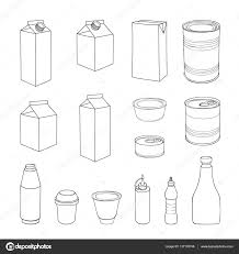food packaging template set meal package box doodle collection