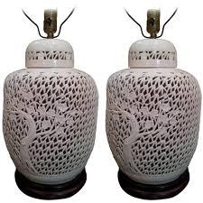 pair of pierced blanc de chine lidded ginger jar lamps vintage