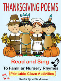 thanksgiving poems to familiar nursery rhymes literacy