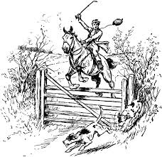 horse jumping over fence clipart etc