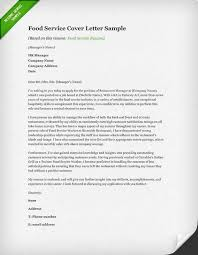 Sample Resume Of Food Service Worker by Cover Letter For Food Service Docoments Ojazlink