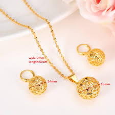 pendant necklace chain length images Round ball pendant necklace chain earrings sets jewelry 24k yellow jpg