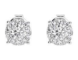 illusion earrings diamond 14k white gold mens diamond solitaire 5mm earrings