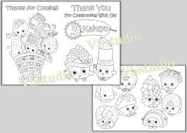 shopkins birthday party thank you coloring pages activity
