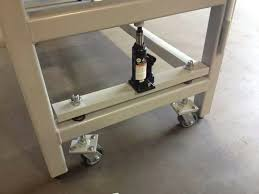 diy welding table plans welding table with bottle caster mechanism garage space layout