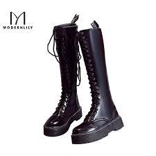 zipper boots s modernlily knee high boots black patent leather zipper