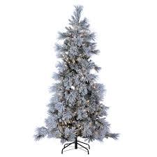 sterling 7 ft indoor pre lit led lightly flocked snowbell pine