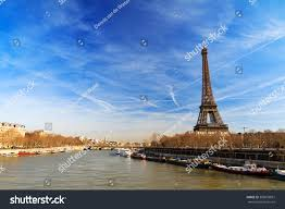 beautiful eiffel tower seine river dramatic stock photo 369078827