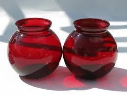 Ruby Vases Royal Ruby Red Vintage Anchor Hocking Glass Vases Lot Orginal Label