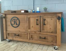 Buffet Bar Cabinet Custom Outdoor Cabinet Rustic Cooler Bar Cart Grilling Prep
