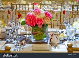 wedding table decoration floral centerpiece stock photo 124204387