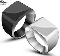 men s ring size cool simple men ring never fade black silver color stainless steel