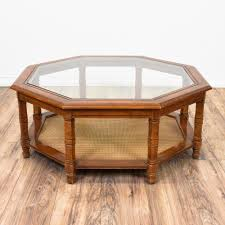 Large Coffee Table by Octagon Glass Top Coffee Table Large Coffee Tables Cherry