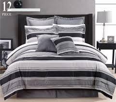 Modern Bed Comforter Sets 12 Piece Modern Bedding Black Grey White Stripe Queen Comforter
