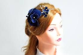 flower hair band navy blue fascinator headband fascinator wedding headpiece ivory