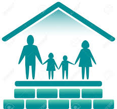 House Silhouette by Blue Sign With Family In Bricks House Silhouette Royalty Free