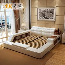 Side Bed Frame Modern Leather Size Storage Bed Frame With Side Storage