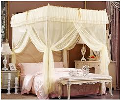 Lace Bed Canopy Beige Lace Luxury Four Corner Square Princess Bed