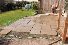 Stone Patio Images by The Construction And Building Of A Natural Stone Patio In An