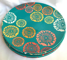 target melamine set of 4 teal flower dinner plates summer 2012