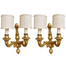Wood Wall Sconce with Pair Of Italian Gold Leaf Wood Wall Sconces 20th Century For Sale
