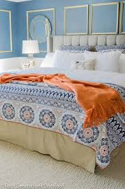 blue and orange bedding get busy with summertime bedding
