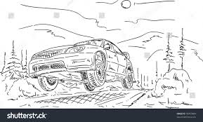 wrecked car drawing vector rally car jumping isolated on stock vector 99459884