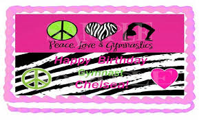 gymnastics cake toppers half sheet hot pink and zebra by eyecandeycreativedesigns on zibbet