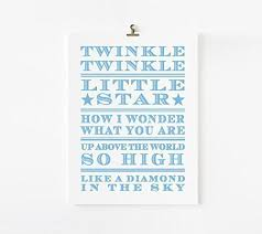 Nursery Rhymes Decorations Twinkle Twinkle Nursery Rhyme Print