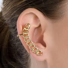 gold ear cuffs goldtone chain link ear cuff