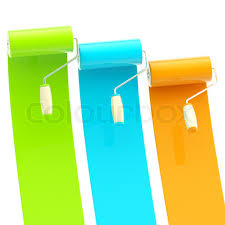 stock image of u0027colorful glossy green blue orange bright paint