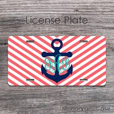 monogrammed plate anchor navy coral chevron vine monogrammed car plate monogramcase