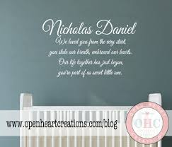 Personalized Name Wall Decals For Nursery by Baby Nursery Wall Decal Quote Baby Poem With Personalized