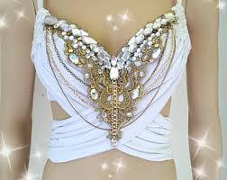 Moon Goddess Fairy Monokini Bra Cosplay Dance Costume Rave Bra by White And Gold And Glam Design Custom Bra Costume Lingerie Rave