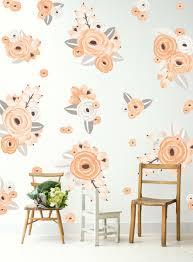 half order peach graphic flower wall decals urban walls peach half order graphic flowers
