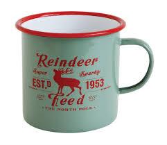 christmas mug reindeer feed enameled mugs vintage style christmas cups