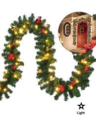 2 7m 5m pre lit garland decoration baubles with led