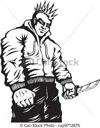 clipart vector of criminal with a knife illustration of punk