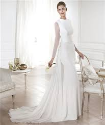 a line scoop neck satin chiffon long sleeve wedding dress with
